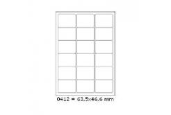 Samoprzylepne etykiety 63,5 x 46,6 mm, 18 etykiet, A4, 100 arkuszy