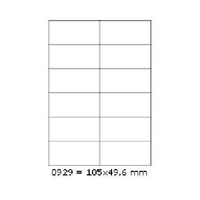 Samoprzylepne etykiety 105 x 49,6 mm, 12 etykiet, A4, 100 arkuszy