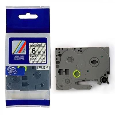 Taśma zamiennik Brother TZ-111 / TZe-111, 6mm x 8m, czarny druk / przezroczysty podkład