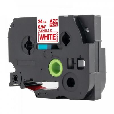 Taśma zamiennik Brother TZ-FX252 / TZe-FX252, 24mm x 8m, flexi, czerwony druk / biały podkład