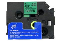 Taśma zamiennik Brother TZ-711 / TZe-711, 6mm x 8m, czarny druk / zielony podkład
