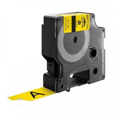 Taśma zamiennik Dymo 18433, 19mm x 5, 5m czarny druk / żółty podkład, vinyl