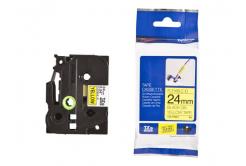 Brother TZ-FX651/TZe-FX651 24mm x 8m, flexi, czarny druk/żółty podkład, taśma zamiennik