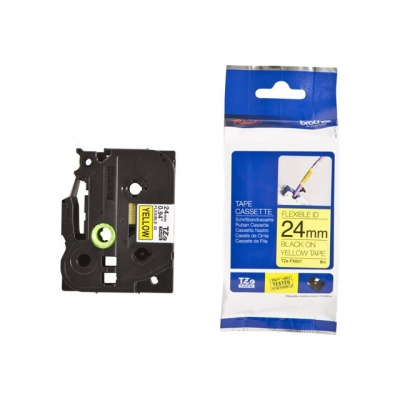 Taśma zamiennik Brother TZ-FX651 / TZe-FX651 24mm x 8m, flexi, czarny druk / żółty podkład