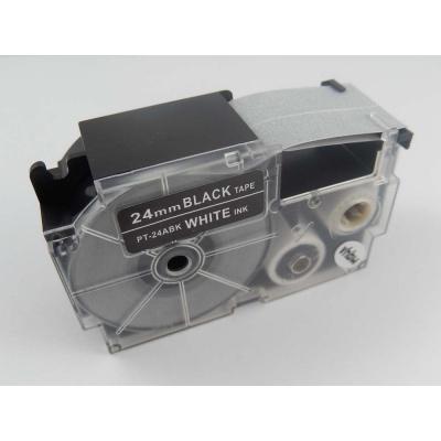 Taśma zamiennik Casio XR-24ABK 24mm x 8m biały druk / biały podkład