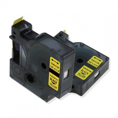 Taśma zamiennik Dymo 18490, 12mm x 3, 5m czarny druk / żółty podkład, nylon flexi