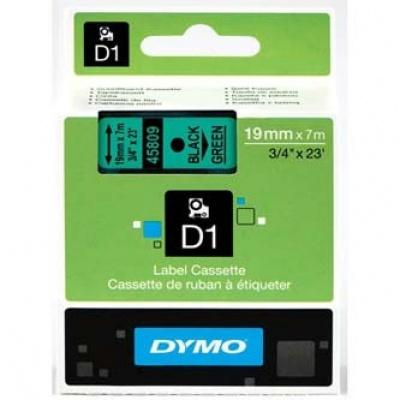 Dymo D1 45809, S0720890, 19mm x 7m, czarny druk / zielony podkład, taśma oryginalna