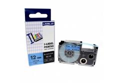 Taśma zamiennik Casio XR-12BU1, 12mm x 8m czarny druk / niebieski podkład