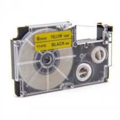 Taśma zamiennik Casio XR-6YW1, 6mm x 8m czarny druk / żółty podkład