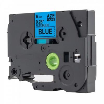 Taśma zamiennik Brother TZ-S511 / TZe-S511, 6mm x 8m, mocno klejący, czarny druk / niebieski podkład