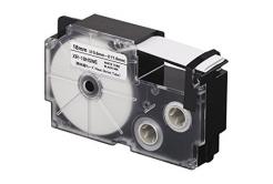 Taśma zamiennik Casio R3.5WE 6mm x 2,5m termokurczliwa, czarny druk / biały podkład
