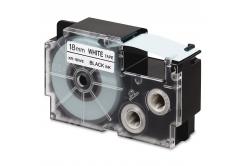 Taśma zamiennik Casio R11WE 18mm x 2,5m termokurczliwa, czarny druk / biały podkład