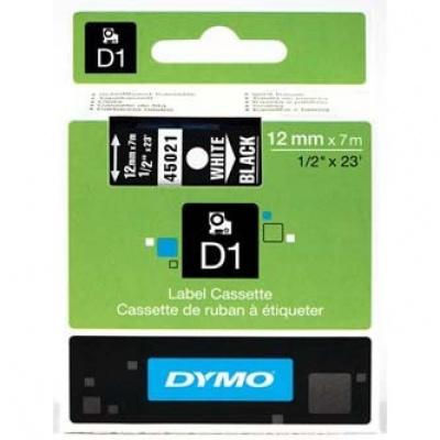 Dymo D1 45021, S0720610, 12mm x 7m biały druk / czarny podkład, taśma oryginalna