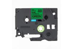 Taśma zamiennik Brother TZ-FX751 / TZe-FX751,24mm x 8m, flexi, czarny druk / zielony podkład