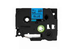 Taśma zamiennik Brother TZ-S551 / TZe-S551, 24mm x 8m, mocno klejący, czarny druk / niebieski podkład