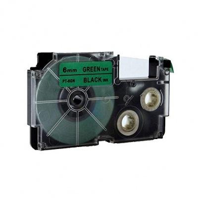 Taśma zamiennik Casio XR-6GN1, 6mm x 8m czarny druk / zielony podkład