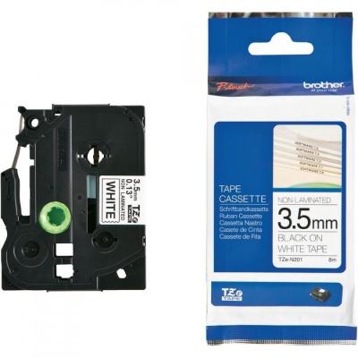 Brother TZE-N201, 3,5mm x 8m, czarny druk / biały podkład, taśma oryginalna