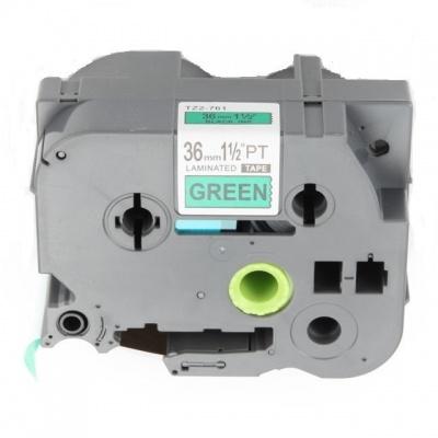 Taśma zamiennik Brother TZ-761 / TZe-761, 36mm x 8m, czarny druk / zielony podkład