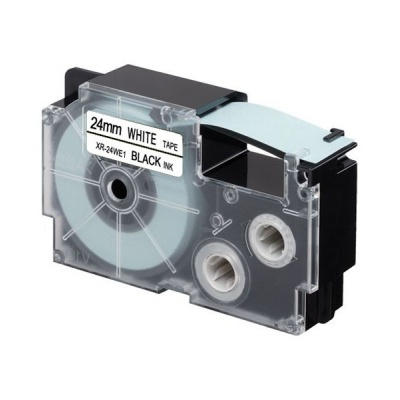 Taśma zamiennik Casio XR-24WE1, 24mm x 8m, czarny druk / biały podkład