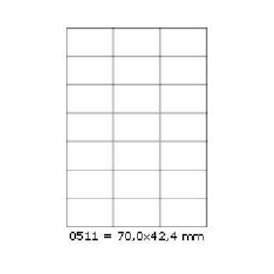 Samoprzylepne etykiety 70 x 42,4 mm, 21 etykiet, A4, 100 arkuszy