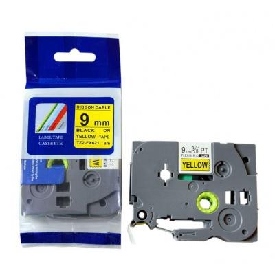 Taśma zamiennik Brother TZ-FX621 / TZe-FX621, 9mm x 8m, flexi, czarny druk / żółty podkład