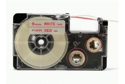 Taśma zamiennik Casio XR-9WER 9mm x 8m czerwony druk / biały podkład