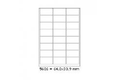 Samoprzylepne etykiety 64 x 33,9 mm, 24 etykiet, A4, 100 arkuszy