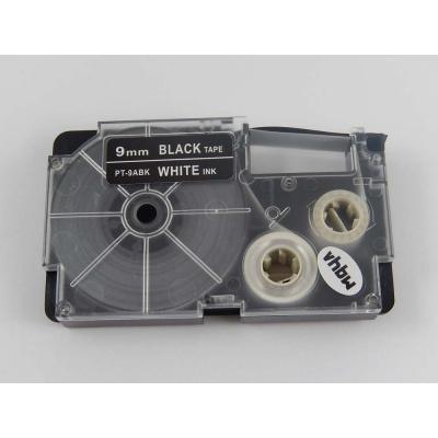 Taśma zamiennik Casio XR-9ABK 9mm x 8m biały druk / biały podkład