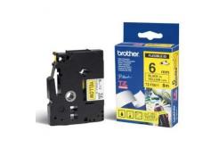 Brother TZ-FX611 / TZe-FX611, 6mm x 8m, czarny druk / żółty podkład, taśma oryginalna