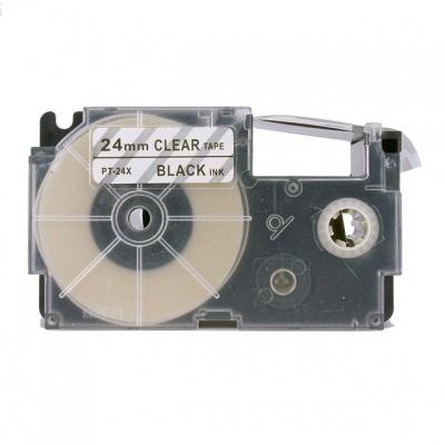 Taśma zamiennik Casio XR-24X1, 24mm x 8m, czarny druk / przezroczysty podkład