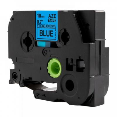 Taśma zamiennik Brother TZ-S541 / TZe-S541, 18mm x 8m, mocno klejący, czarny druk / niebieski podkład