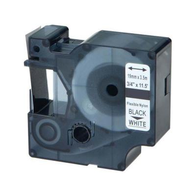 Taśma zamiennik Dymo 18489, 19mm x 3, 5m czarny druk / biały podkład, nylon flexi