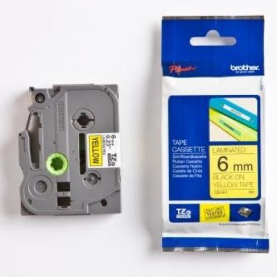 Brother TZ-611 / TZe-611, 6mm x 8m, czarny druk / żółty podkład, taśma oryginalna