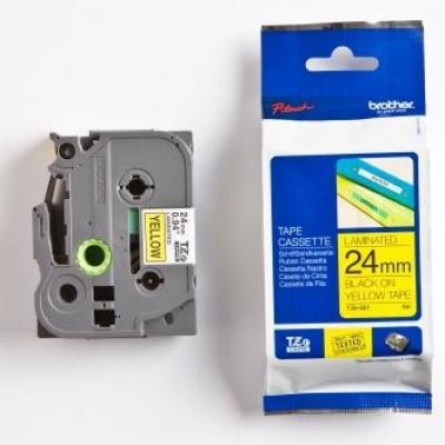 Brother TZ-651 / TZe-651, 24mm x 8m, czarny druk / żółty podkład, taśma oryginalna