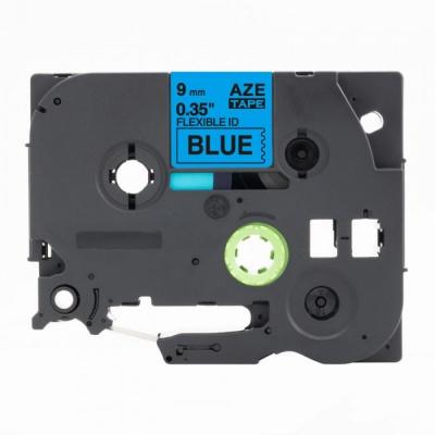 Taśma zamiennik Brother TZ-FX521 / TZe-FX521, 9mm x 8m, flexi, czarny druk / niebieski podkład