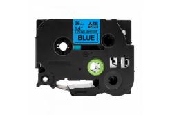 Taśma zamiennik Brother TZ-S561 / TZe-S561, 36mm x 8m, mocno klejący, czarny druk / niebieski podkład