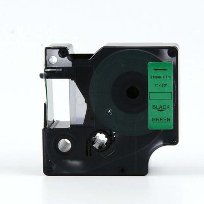Taśma zamiennik Dymo 53719, S0720990, 24mm x 7m, czarny druk / zielony podkład