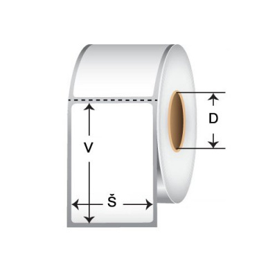 Samolepicí PP (polypropylen) etikety, 50x40mm, 2000ks, pro TTR, žluté, role