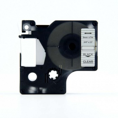 Taśma zamiennik Dymo 40910, S0720670, 9mm x 7m czarny druk / przezroczysty podkład