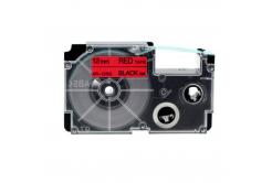 Taśma zamiennik Casio XR-12RD1, 12mm x 8m czarny druk / czerwony podkład