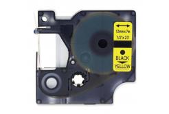 Taśma zamiennik Dymo 45018, S0720580, 12mm x 7m, czarny druk / żółty podkład