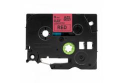 Taśma zamiennik Brother TZ-S411 / TZe-S411, 6mm x 8m, mocno klejący, czarny druk / czerwony podkład