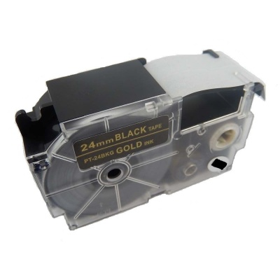 Taśma zamiennik Casio XR-24BKG 24mm x 8m złoty druk / biały podkład