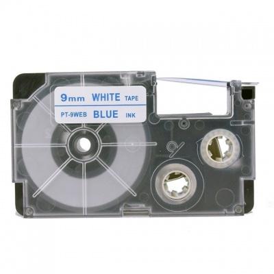 Taśma zamiennik Casio XR-9WEB 9mm x 8m niebieski druk / biały podkład