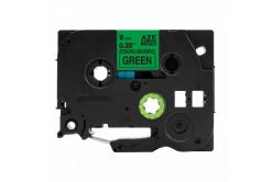 Taśma zamiennik Brother TZ-S721 / TZe-S721, 9mm x 8m, mocno klejący, czarny druk / zielony podkład