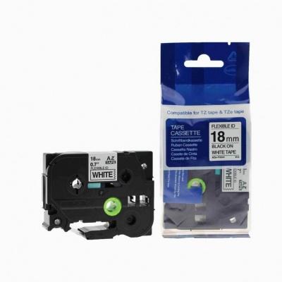 Taśma zamiennik Brother TZ-FX241 / TZe-FX241, 18mm x 8m, flexi, czarny druk / biały podkład