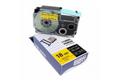 Taśma zamiennik Casio R11YW 18mm x 2,5m termokurczliwa, czarny druk / żółty podkład