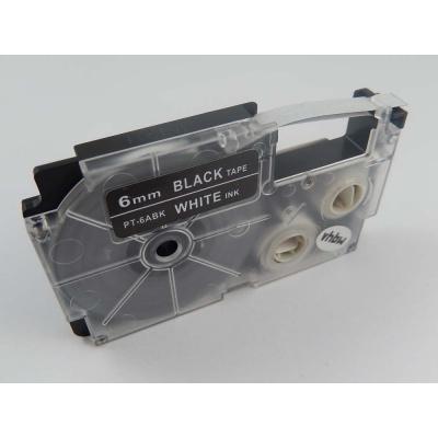 Taśma zamiennik Casio XR-6ABK, 6mm x 8m biały druk / biały podkład