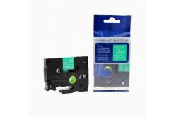 Taśma zamiennik Brother TZ-725 / TZe-725, 9mm x 8m, biały druk / zielony podkład