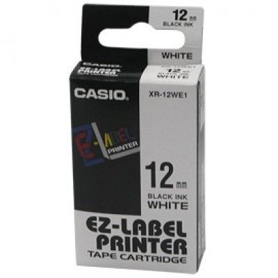 Casio XR-12WE1, 12mm x 8m, czarny druk / biały podkład, taśma oryginalna